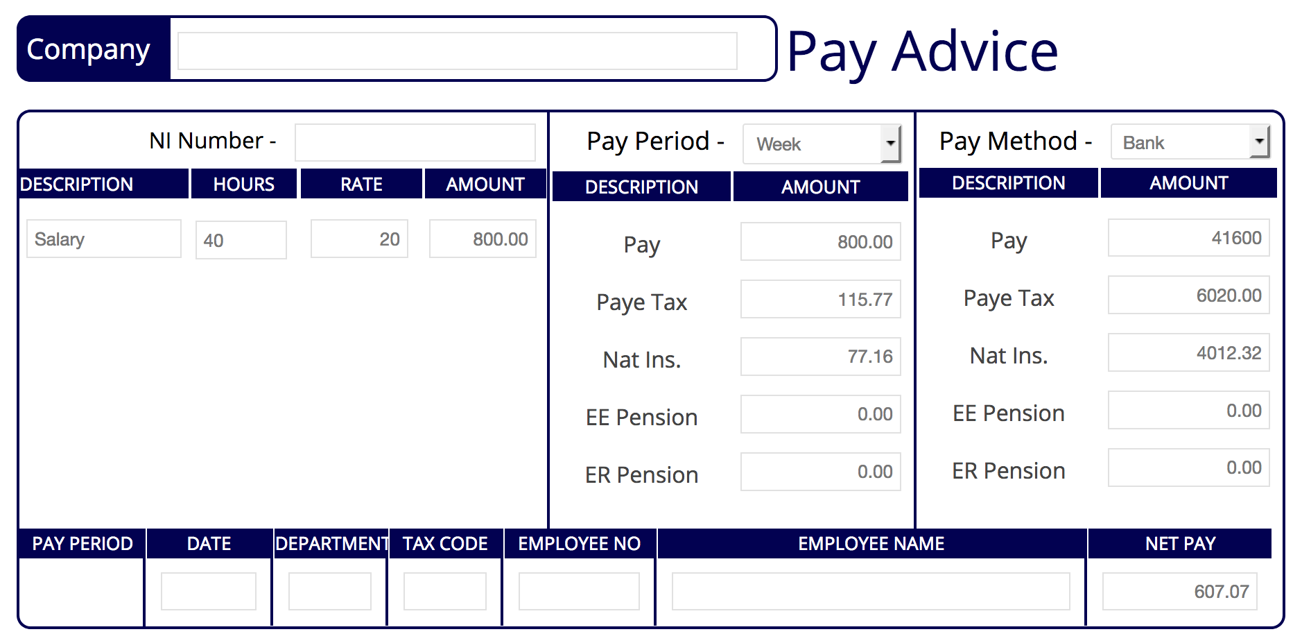 Standard A3 Payslip Make One Now Free Preview